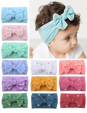 Elsa - Luxury Comfort Bow & Pearl Baby Headwrap