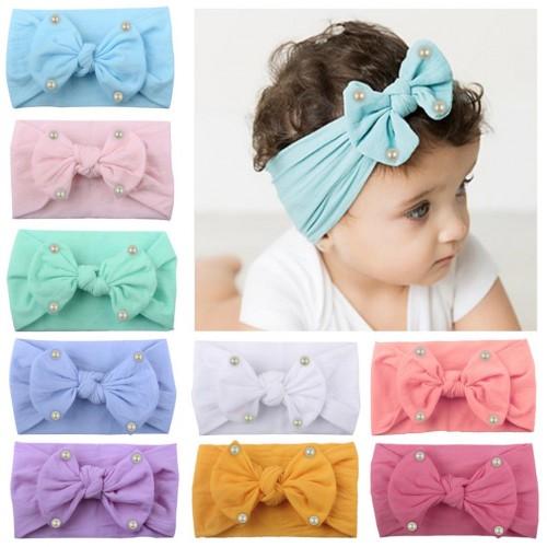 Elsa - Luxury Comfort Bow & Pearl Baby Headwrap
