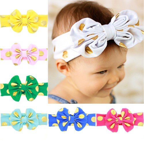 Cleo - Beautiful Gold Polka Dot Bow Baby Headband