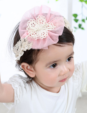 Crochet Tulle Flower Baby Headband