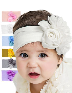 Hazel - Luxury Comfort Triple Flower Baby Headwrap