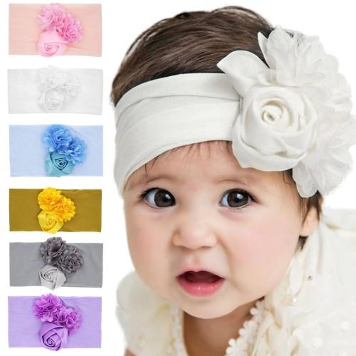 Hazel - Luxury Comfort Triple Flower Baby Headwrap
