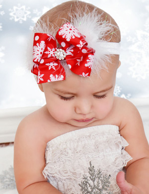 Carol - Luxury Snowflake Christmas Bow Baby Headband
