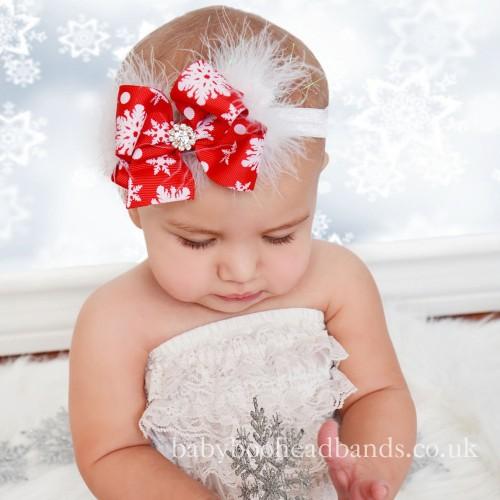 Claire - Luxury Snowflake Christmas Bow Baby Headband